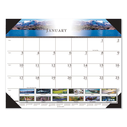 Recycled Full-Color Photo Monthly Desk Pad Calendar, 22 x 17, 2021
