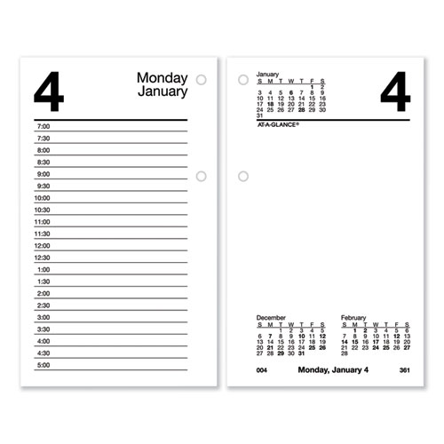 Recycled Desk Calendar Refill, 3.5 x 6, White, 2021