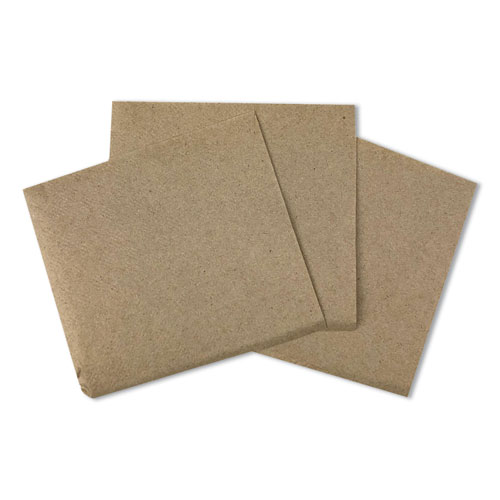 Beverage Napkins, 1-Ply, 9.5 x 9.5, Kraft, 500/Pack, 8 Packs/Carton