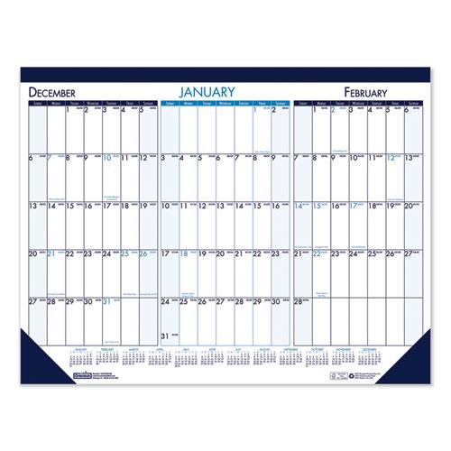 Three Month Desk Pad Calendar, 22 x 17, 2020-2022