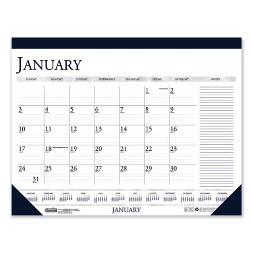 Recycled Two-Color Monthly Desk Pad Calendar with Large Notes Section, 22 x 17, 2021