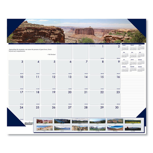 Recycled Mountains of the World Photo Monthly Desk Pad Calendar, 22 x 17, 2021