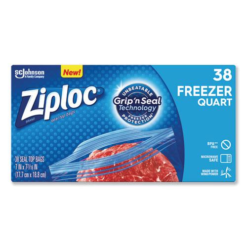 Double Zipper Freezer Bags, 1 qt, 2.7 mil, 6.97 x 7.7, Clear, 9/Carton