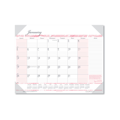 Recycled Breast Cancer Awareness Monthly Desk Pad Calendar, 22 x 17, 2021