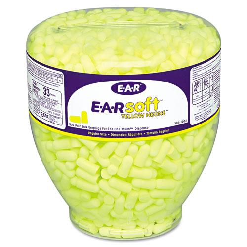 3M™ E·A·Rsoft Neon Tapered Earplug Refill, Cordless, Yellow, 500/Box