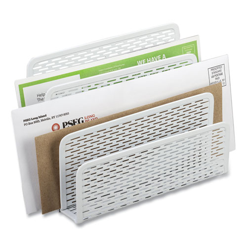 Urban Collection Punched Metal Letter Sorter, 3 Sections, DL to A6 Size Files, 6.5 x 3.25 x 5.5, White