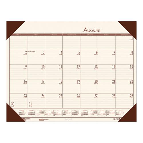 Recycled EcoTones Academic Desk Pad Calendar, 18.5 x 13, Brown Corners, 2020-2021