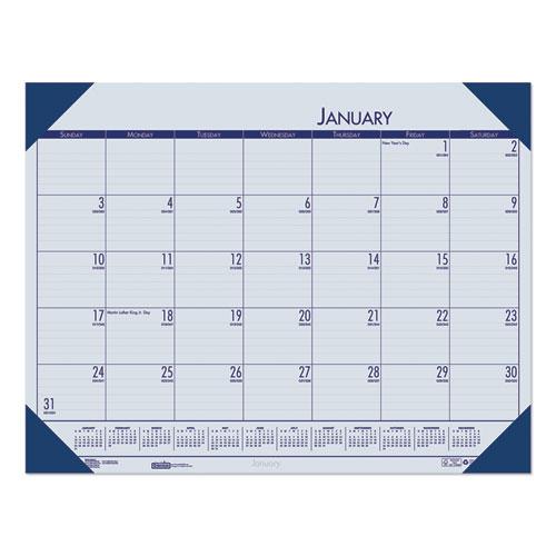 Recycled EcoTones Ocean Blue Monthly Desk Pad Calendar, 22 x 17, 2021