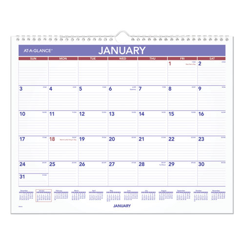 MONTHLY WALL CALENDAR, 15 X 12, RED/BLUE, 2021