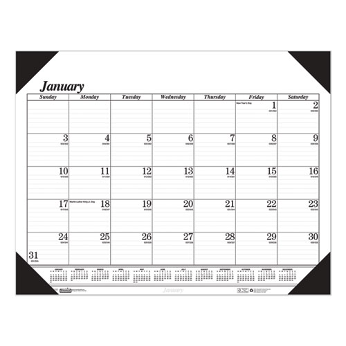 Recycled Workstation-Size One-Color Monthly Desk Pad Calendar, 18.5 x 13, 2021