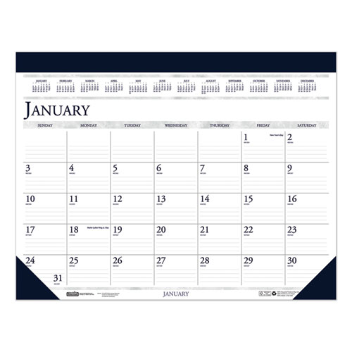 Recycled Two-Color Monthly Desk Pad Calendar, 18.5 x 13, 2021