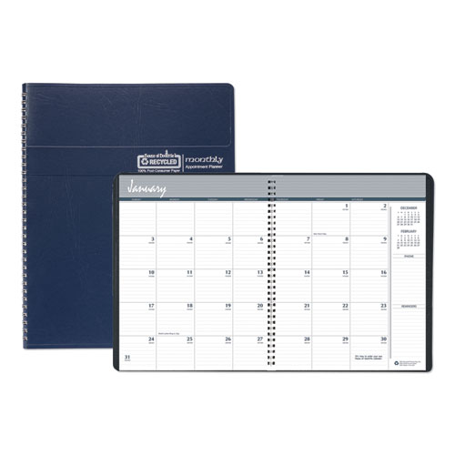 House of Doolittle™ Recycled Ruled Monthly Planner, 14-Month Dec.-Jan., 11 x 8.5, Blue, 2020-2022