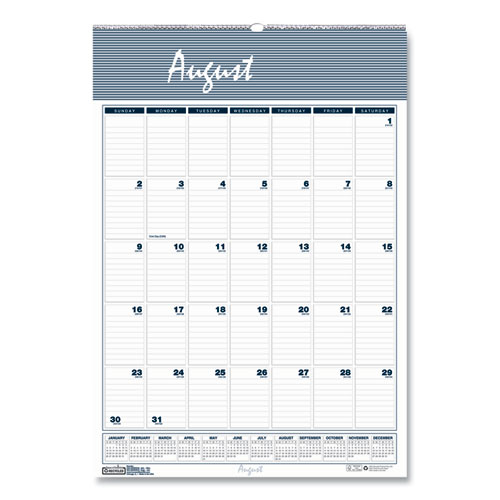 RECYCLED BAR HARBOR WIREBOUND ACADEMIC MONTHLY WALL CALENDAR, 12 X 17, 2020-2021
