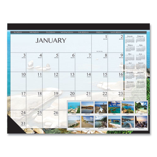 100 Recycled Earthscapes Seascapes Desk Pad Calendar, 22 x 17, 2021