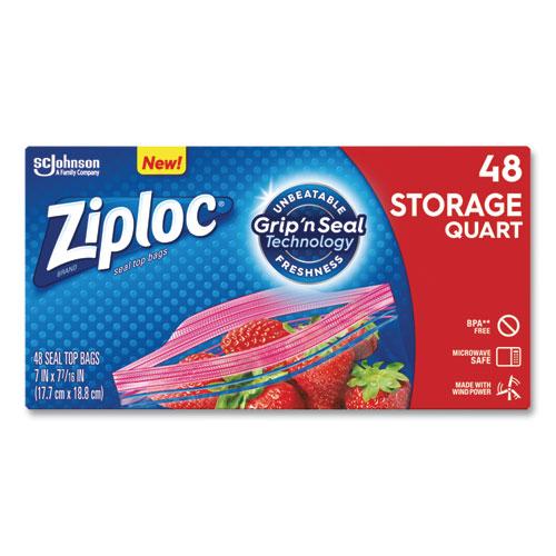 Double Zipper Storage Bags, 1 qt, 1.75 mil, 9.63 x 8.5, Clear, 48/Box