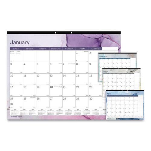 Trendy Monthly Desk Pad, 22 x 17, Quartz, 2021