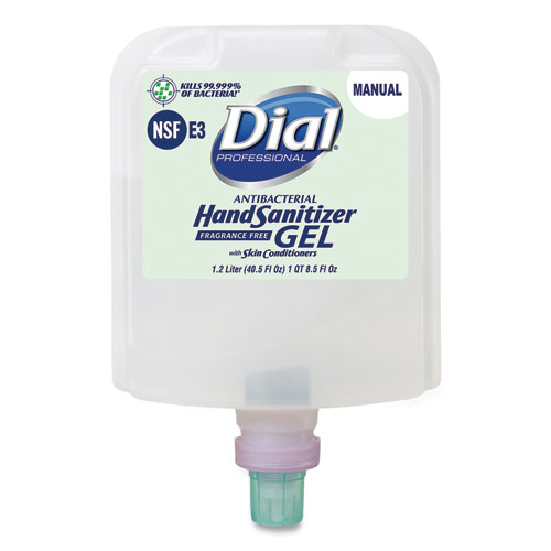 Dial 1700 Manual Refill Antibacterial Gel Hand Sanitizer, Fragrance-Free, 1.2 L, 3/Carton