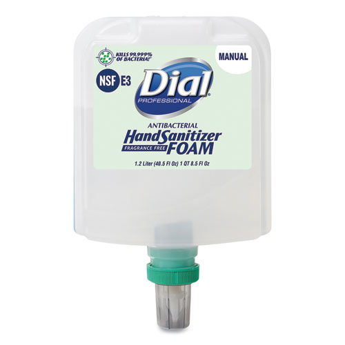 Dial 1700 Manual Refill Antibacterial Foaming Hand Sanitizer, Fragrance-Free, 1.2 L, 3/Carton