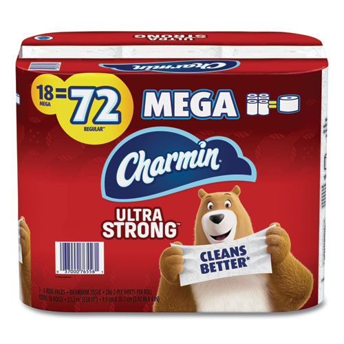 Charmin® Ultra Strong Bathroom Tissue, Septic Safe, 2-Ply, 4 x 3.92, White, 264 Sheet/Roll, 18/Pack