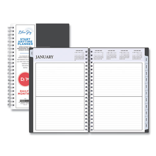 Blue Sky® Passages Non-Dated Perpetual Daily Planner, 8.5 x 5.5, Black Cover, 2021-2025