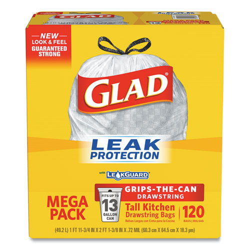 "Glad® ForceFlexPlus OdorShield Tall Kitchen Drawstring Trash Bags, 13 gal, 0.72 mil, 23.75"" x 25.38"", White, 120/Box"