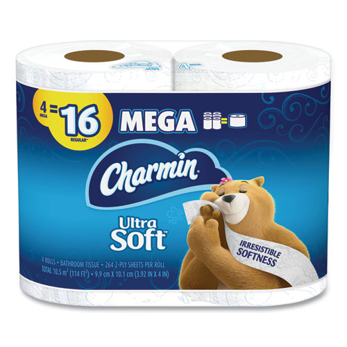 Charmin® Ultra Soft Bathroom Tissue, Septic Safe, 2-Ply, White, 4 x 3.92, 264 Sheets/Roll, 4 Rolls/Pack