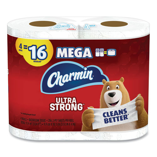Ultra Strong Bathroom Tissue, Septic Safe, 2-Ply, 4 x 3.92, White, 286 Sheet/Roll, 4/Pack, 6 Packs/Carton