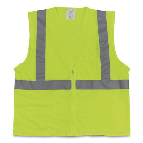 Two-Pocket Zipper Safety Vest, Hi-Viz Lime Yellow, X-Large