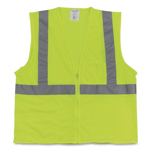 Two-Pocket Zipper Safety Vest, Hi-Viz Lime Yellow, Large