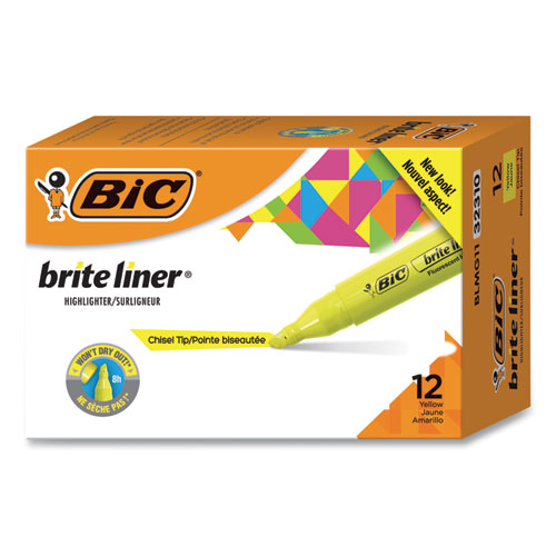 Brite Liner Tank-Style Highlighter, Chisel Tip, Fluorescent Yellow, Dozen