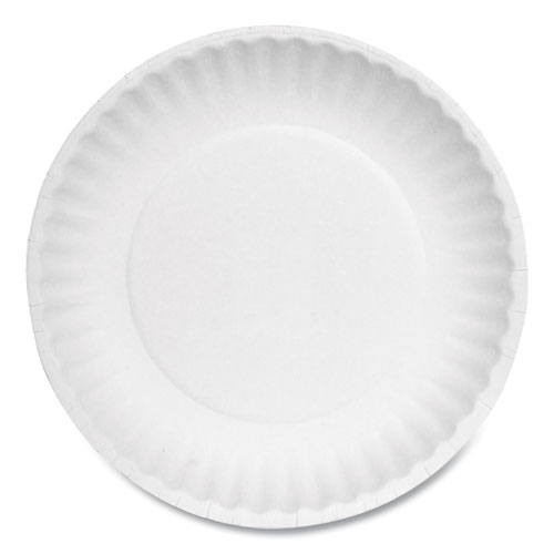 "AJM Packaging Corporation Paper Plates, 6"" Diameter, White, Bulk Pack, 1000/Carton"