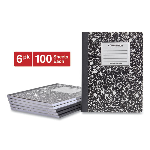 Composition Book, Wide/Legal Rule, Black Marble Cover, 9.75 x 7.5, 100 Sheets, 6/Pack