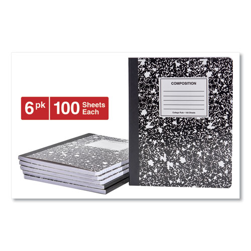 Composition Book, Medium/College Rule, Black Marble, 9.75 x 7.5, 100 Sheets, 6/Pack