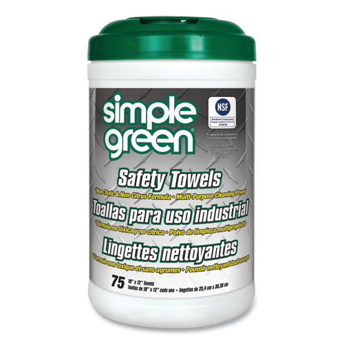 Simple Green® Safety Towels, 10 x 11 3/4, 75/Canister