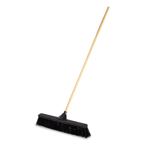 Push Brooms, 24, PP Bristles, For Rough Floor Surfaces, Black