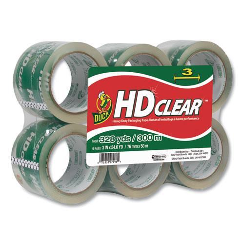 Heavy-Duty Carton Packaging Tape, 3 Core, 3 x 54.6 yds, Clear, 6/Pack
