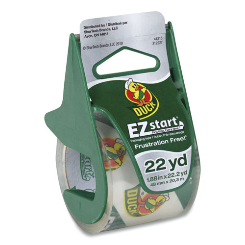 EZ Start Premium Packaging Tape with Dispenser, 1.5 Core, 1.88 x 22.2 yds, Clear