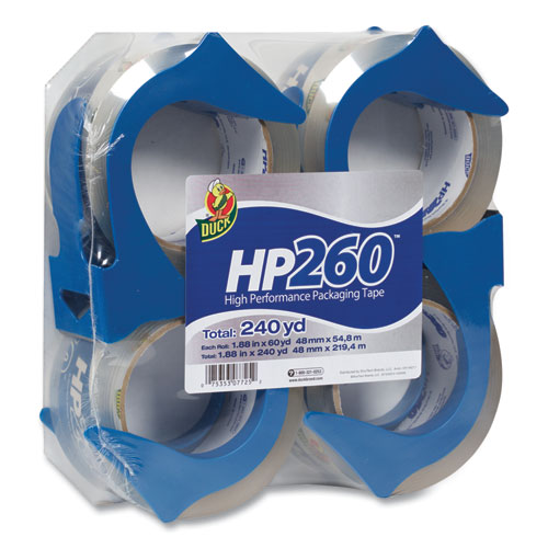 HP260 Packaging Tape with Dispenser, 3 Core, 1.88 x 60 yds, Clear, 4/Pack