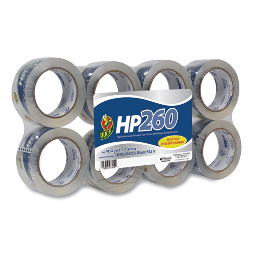 HP260 Packaging Tape, 3 Core, 1.88 x 60 yds, Clear, 8/Pack