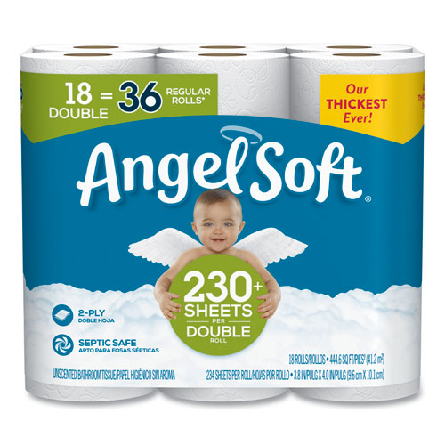Double-Roll Bathroom Tissue, Septic Safe, 2-Ply, White, 3.8 x 4.41, 230 Sheets/Roll, 18 Rolls/Carton