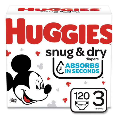 Snug and Dry Diapers, Size 3, 16 lbs to 28 lbs, 120/Carton
