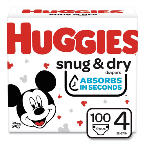Snug and Dry Diapers, Size 4, 22 lbs to 37 lbs, 100/Carton