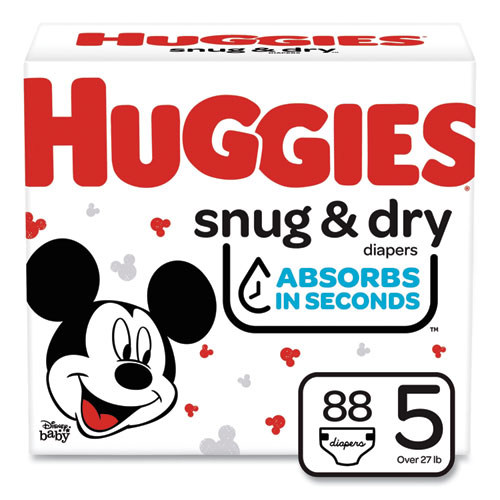 Snug and Dry Diapers, Size 5, 27 lbs min, 88/Carton