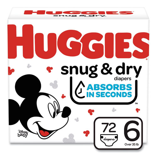 Snug and Dry Diapers, Size 6, 35 lbs min, 72/Carton