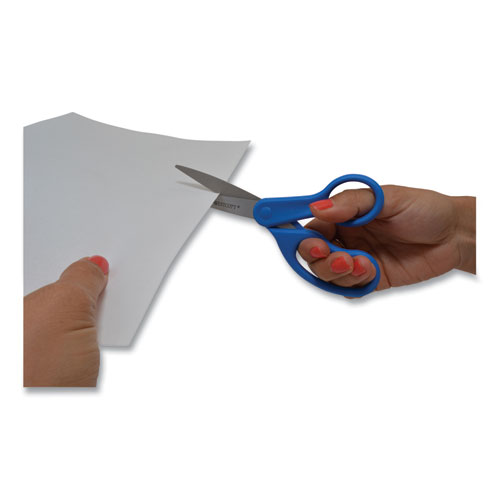 "Preferred Line Stainless Steel Scissors, 8"" Long, 3.5"" Cut Length, Blue Straight Handle"