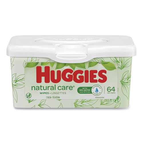 Natural Care Baby Wipes, Unscented, White, 64/Tub, 4 Tub/Carton