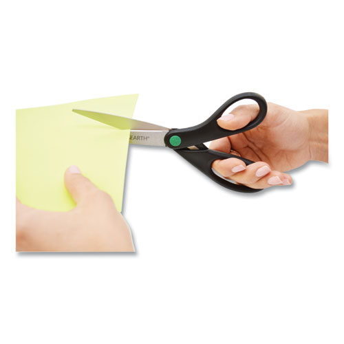 "KleenEarth Scissors, 8"" Long, 3.25"" Cut Length, Black Straight Handle"