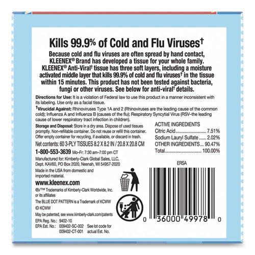 Anti-Viral Facial Tissue, 3-Ply, White, 60 Sheets/Box, 27 Boxes/Carton