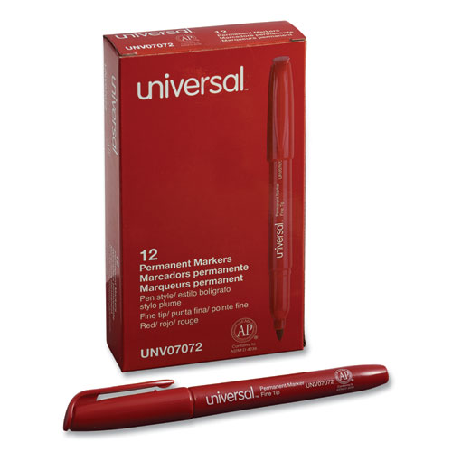 Pen-Style Permanent Marker, Fine Bullet Tip, Red, Dozen