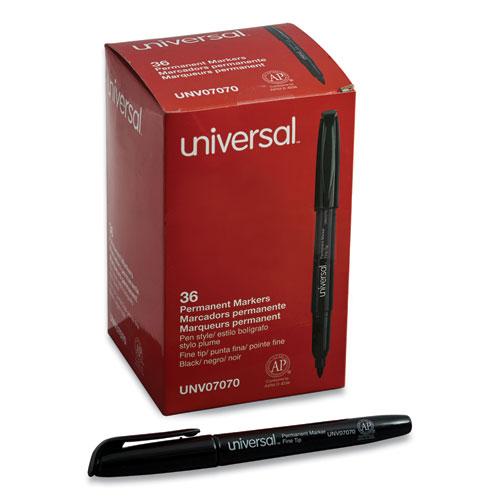 Pen-Style Permanent Marker, Fine Bullet Tip, Black, 36/Pack